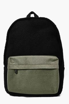 boohoo Borg Back Pack With Contrast Pocket