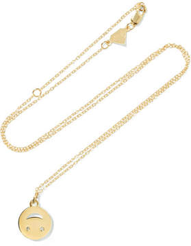 Alison Lou Medium Happy Face 14-karat Gold Diamond Necklace