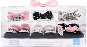 Hudson Baby Black & White Polka Dot Bow-Accent Headband & Socks Set - Infant