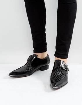 Jeffery West Adam Skull Buckle Shoes In Black