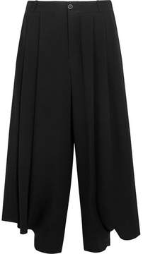 Chloé Cropped Crepe Wide-leg Pants - Black