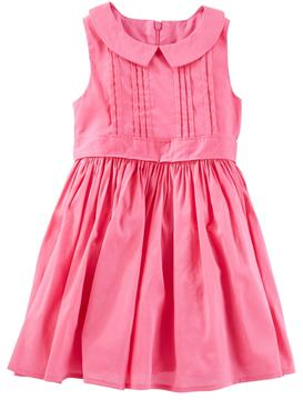 Osh Kosh Toddler Girl Pink Pleated Peter Pan Collar Dress