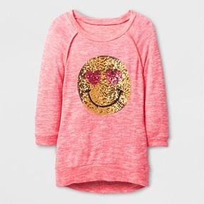 Miss Chievous Girls' Happy Heart Eye Face Sequin Tunic - Orange