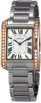 Cartier Tank Anglaise Silver Dial Stainless Steel Watch