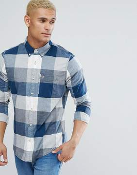 Hollister Logo Pocket Wide Check Slim Fit Shirt in Blue and Cream
