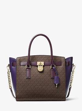 Michael Kors Hamilton Color-Block Logo And Leather Satchel - BROWN - STYLE