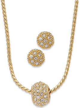 Charter Club Gold-Tone Pave Crystal Ball Necklace and Earring Jewelry Set