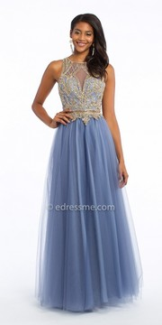 Camille La Vie Beaded Keyhole Illusion Ball Gown