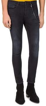 The Kooples Short Skinny & Destroys Slim Fit Jeans in Black