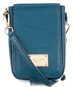 Michael Kors Leather Cell Phone Crossbody Bag - BLUE - STYLE
