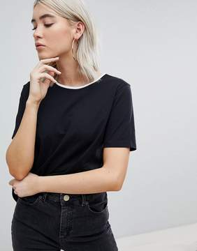 ASOS T-Shirt With Dip Back And Contrast Trim