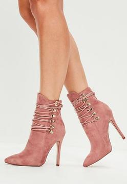 Missguided Pink Pointed Toe Ankle Boots