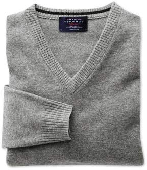 Charles Tyrwhitt Silver Grey Cashmere V-Neck Sweater Size XS