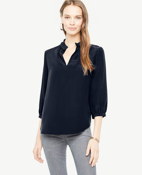 Ann Taylor Silk Pleat Neck Blouse