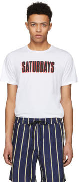 Saturdays NYC White Off Set Logo T-Shirt