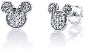 Disney Sterling Silver Mickey Mouse Stud Earrings with Diamond Accents
