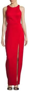 Betsy & Adam Front Slit Floor-Length Dress