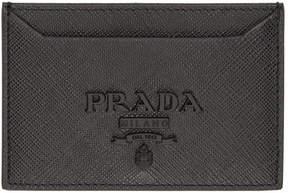 Prada Black Saffiano Tonal Logo Card Holder