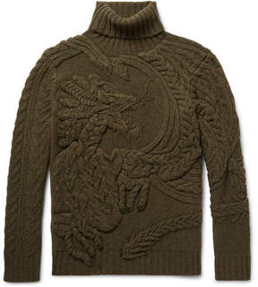 Ralph Lauren Purple Label Cable-Knit Wool And Cashmere-Blend Rollneck Sweater