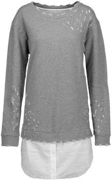 RtA Scarlet Distressed Cotton-Blend Jersey And Cotton-Poplin Top
