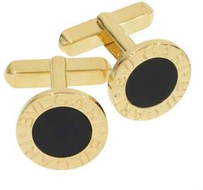 Bulgari 18K Yellow Gold Onyx Cufflinks
