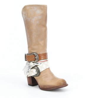Freebird Bae Buckle Knotted Fabric Strap Boots