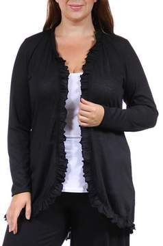 24/7 Comfort Apparel Women's Plus Size Ruffled Hacci Shrug