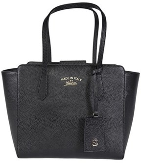 Gucci Small Black Leather Trademark Logo Swing Tote. - BLACK - STYLE