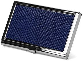 Aspinal of London Stainless Steel Business Card Holder In Midnight Blue Lizard