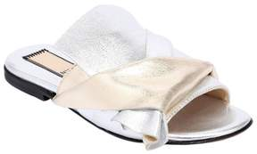 N°21 Two Tone Metallic Leather Slide Sandals