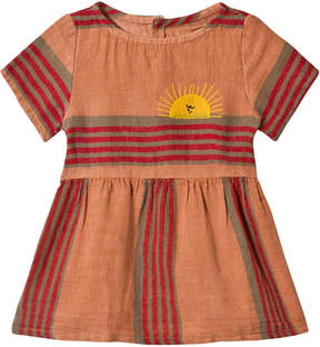 Bobo Choses Muted Clay Stripes Linen Tee-Dress