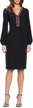 David Meister Beaded Blouson Sleeve Cocktail Dress