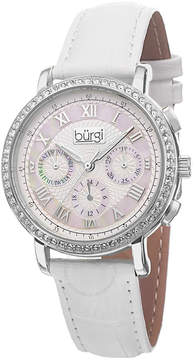 Burgi White Mother of Pearl Dial White LeatheR Strap Ladies Watch