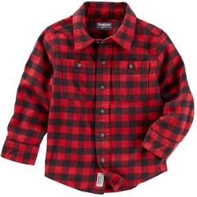 Osh Kosh Toddler Boy Plaid Pocket Button Down Shirt