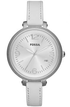 Fossil Heather Silver Dial Silver Tone White Leather Women's Watch ES3276