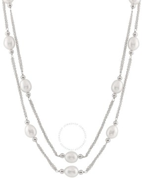 Bella Pearl Sterling Silver Layered Pearl Necklace