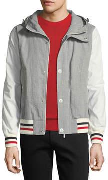 Moncler Gamme Bleu Seersucker Cotton Hooded Jacket