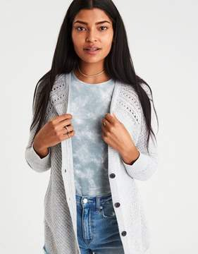 American Eagle Outfitters AE Waffle-Knit Shirttail Cardigan