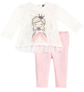 Petit Lem Baby Girl's Twinkle Two-Piece Long Sleeve Top and Pants Set