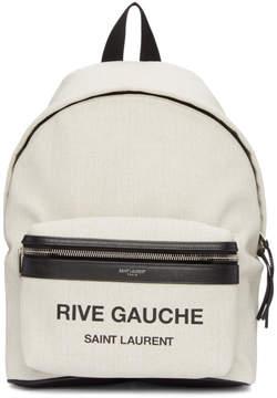 Saint Laurent White Linen Mini City Rive Gauche Backpack