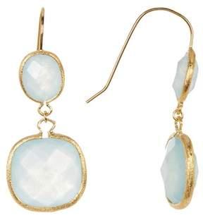 Rivka Friedman 18K Gold Clad Inverted Teardrop and Cushion Shape Caribbean Blue Quartzite Double Dangle Earrings