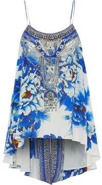 Camilla Crystal-Embellished Floral-Print Silk Crepe De Chine Camisole