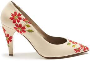 Loewe Floral-embroidered leather pumps