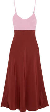 Tibi Two-tone Silk Crepe De Chine Midi Dress - Claret
