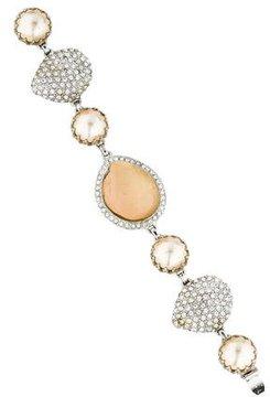 Isaac Mizrahi Pearl & Crystal Link Bracelet