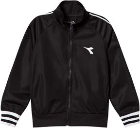 Diadora Black Tech Fabric Branded Zip Through Track Jacket