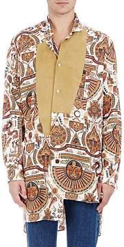 Loewe Men's Folkloric-Print Linen Embellished Tunic