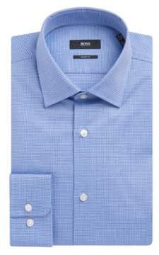 BOSS Hugo Basketweave Cotton Dress Shirt, Sharp Fit Marley US 15.5/R Blue