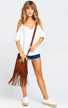 Pamela V ~ Suede Tassel Shoulder Bag ~ Brown