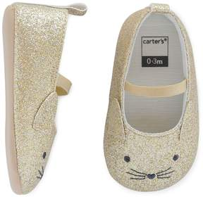 Carter's Baby Girl Glitter Cat Mary Jane Crib Shoes